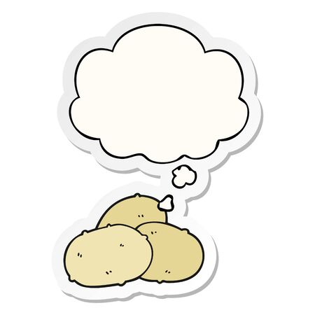 cartoon potatoes with thought bubble as a printed sticker Imagens - 129917791
