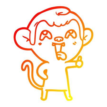 warm gradient line drawing of a crazy cartoon monkey Stock Illustratie