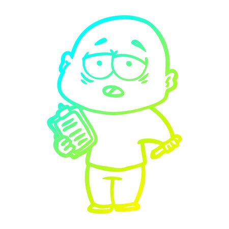 cold gradient line drawing of a cartoon tired bald man 일러스트