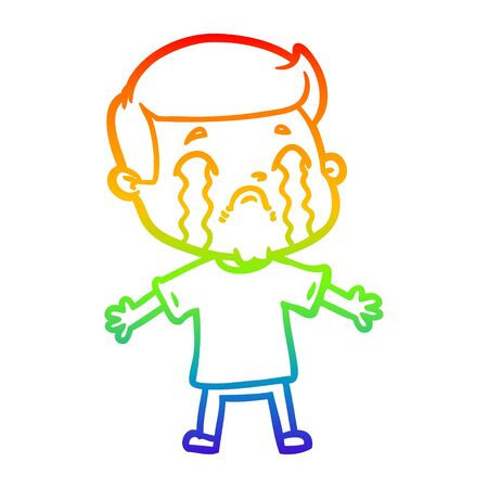 rainbow gradient line drawing of a cartoon man crying