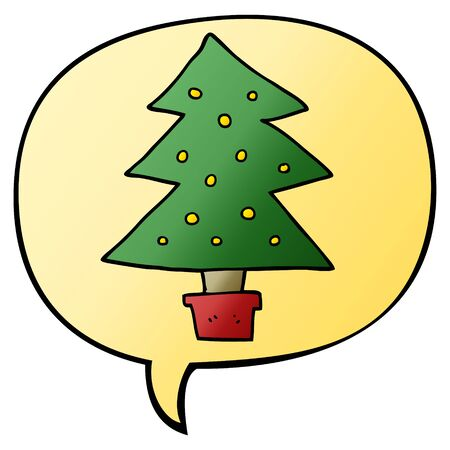 cartoon christmas tree with speech bubble in smooth gradient style Illustration
