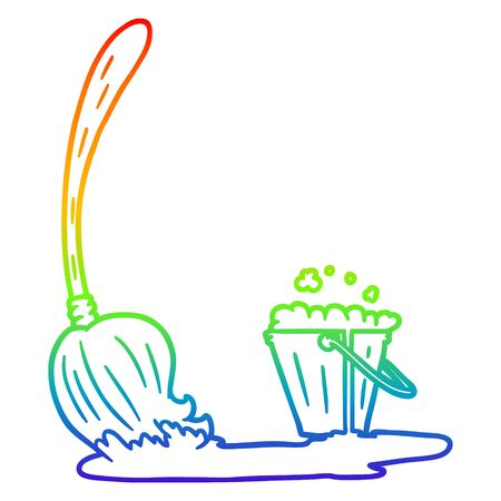 rainbow gradient line drawing of a cartoon mop and bucket