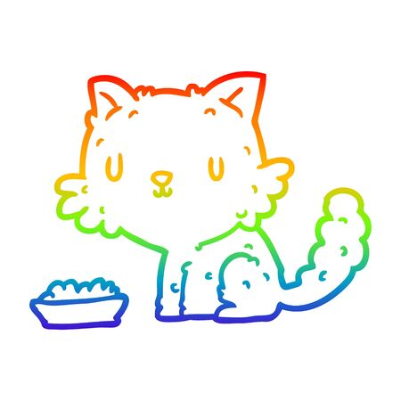 rainbow gradient line drawing of a cute cartoon cat and food