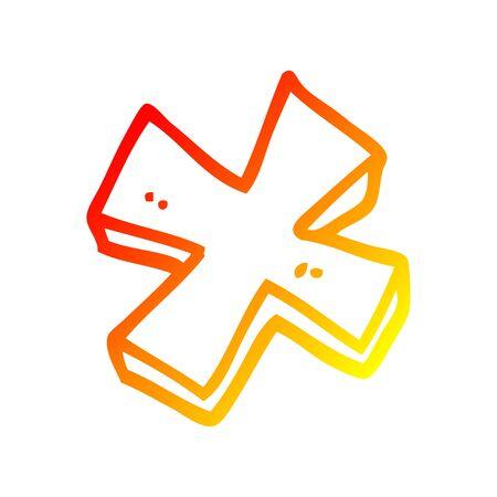 Dibujo de la línea de gradiente cálido de un símbolo de multiplicación de dibujos animados Ilustración de vector