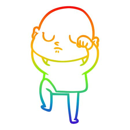 rainbow gradient line drawing of a cartoon bald man Reklamní fotografie - 129917820