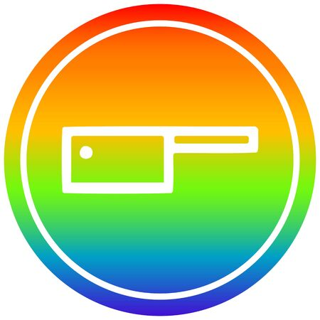 meat cleaver circular icon with rainbow gradient finish  イラスト・ベクター素材