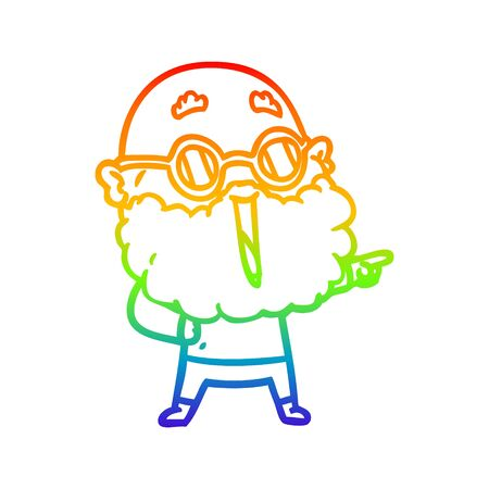 rainbow gradient line drawing of a cartoon joyful man with beard pointing finger Ilustração