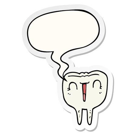 cartoon happy tooth with speech bubble sticker Stockfoto - 129917688