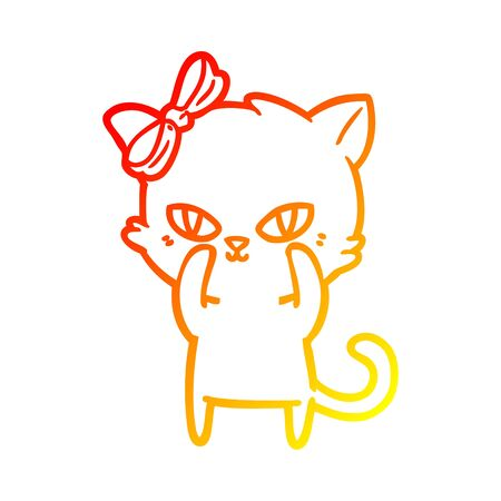 warm gradient line drawing of a cute cartoon cat Иллюстрация