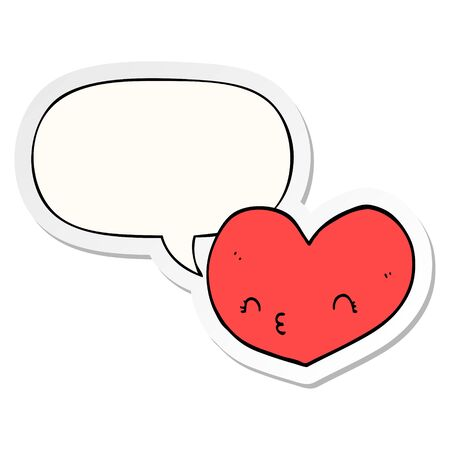 cartoon heart with face with speech bubble sticker