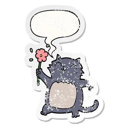 cartoon cat with flower with speech bubble distressed distressed old sticker