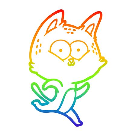 rainbow gradient line drawing of a cartoon cat running Иллюстрация