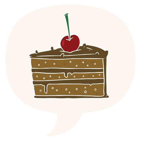 cartoon tasty chocolate cake with speech bubble in retro style  イラスト・ベクター素材