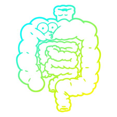 cold gradient line drawing of a cartoon surprised intestines