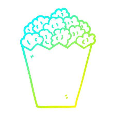 cold gradient line drawing of a cartoon cinema popcorn