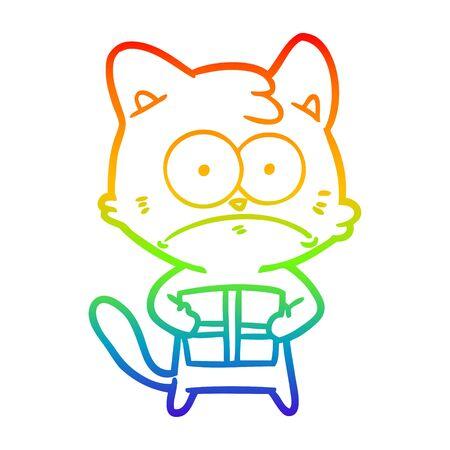 rainbow gradient line drawing of a cartoon cat with present Иллюстрация