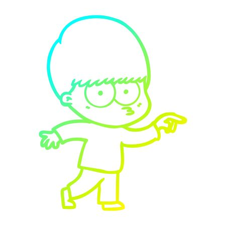 cold gradient line drawing of a nervous cartoon boy