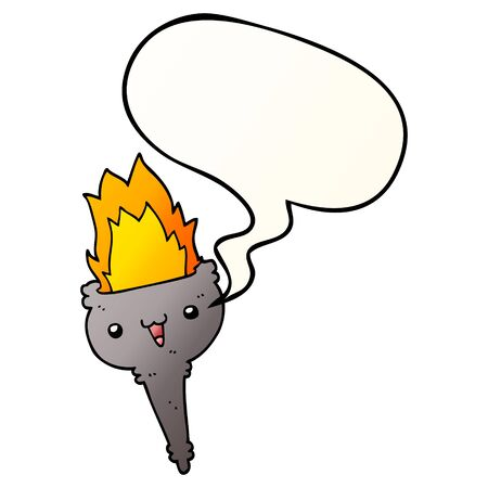 cartoon flaming chalice with speech bubble in smooth gradient style