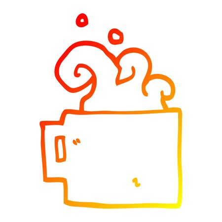 warm gradient line drawing of a cartoon hot cup of coffee Фото со стока - 129912786