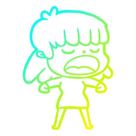 cold gradient line drawing of a cartoon woman talking loudly Illusztráció