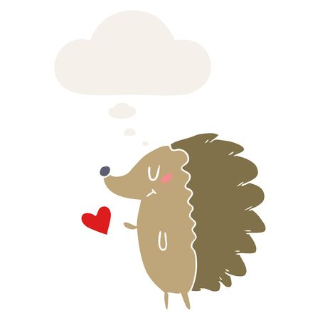 cute cartoon hedgehog with thought bubble in retro style Stock Illustratie