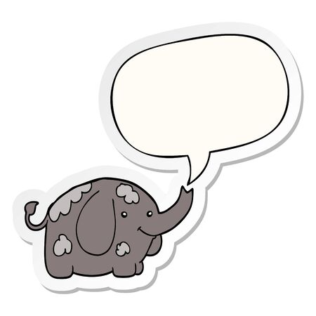 cartoon elephant with speech bubble sticker Stockfoto - 129917891