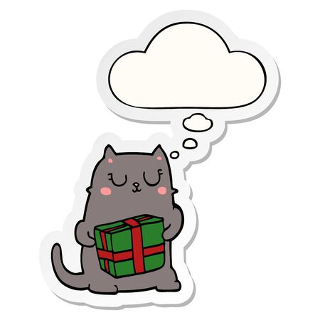 cartoon christmas cat with thought bubble as a printed sticker