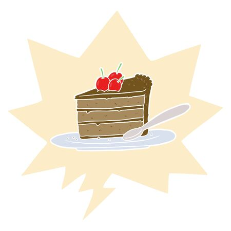cartoon expensive slice of chocolate cake with speech bubble in retro style Ilustração