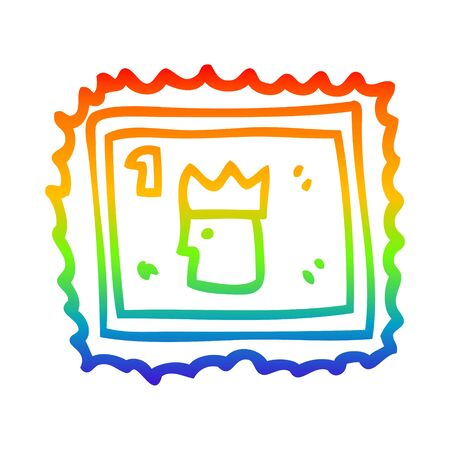 rainbow gradient line drawing of a cartoon stamp with royal face Illustration