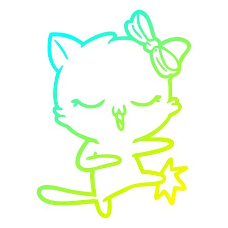 cold gradient line drawing of a cartoon cat with bow on head