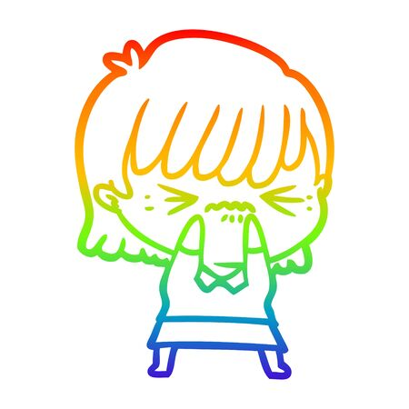 rainbow gradient line drawing of a annoyed cartoon girl
