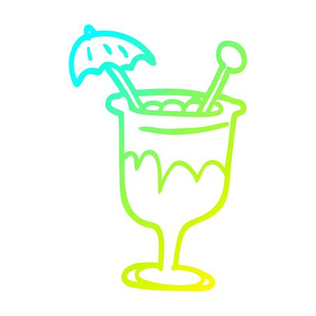 cold gradient line drawing of a cartoon tropical cocktail