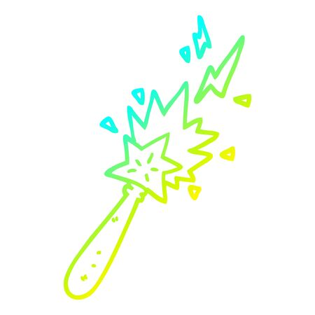 cold gradient line drawing of a cartoon magic wand