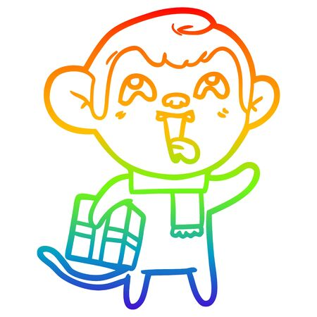 rainbow gradient line drawing of a crazy cartoon monkey with christmas present