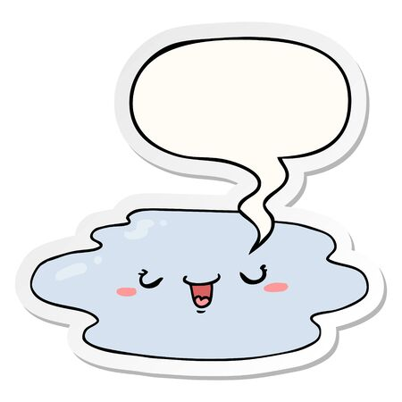 cartoon puddle with face with speech bubble sticker