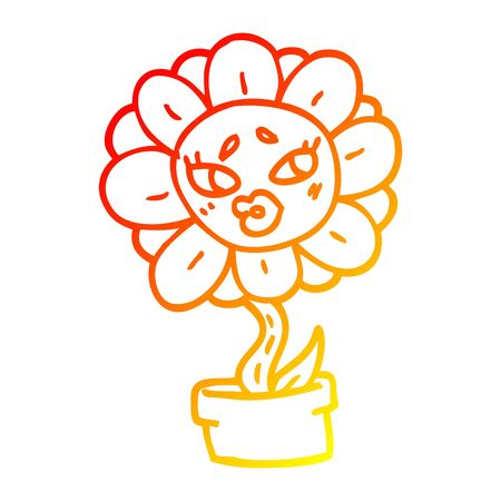 warm gradient line drawing of a cartoon flower pot