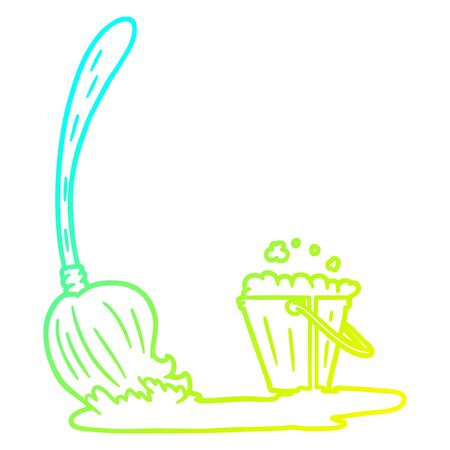 cold gradient line drawing of a cartoon mop and bucket