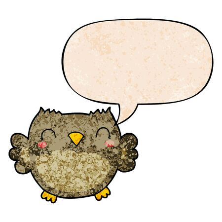 cute cartoon owl with speech bubble in retro texture style