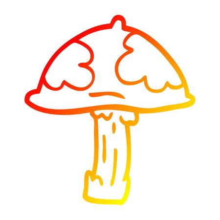 warm gradient line drawing of a cartoon poisonous toadstool