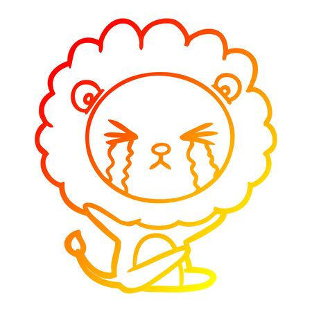 warm gradient line drawing of a cartoon crying lion  イラスト・ベクター素材