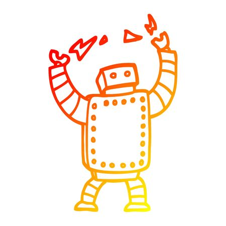 warm gradient line drawing of a cartoon giant robot