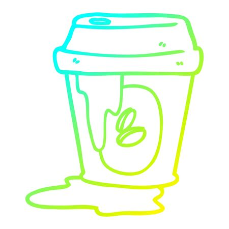 cold gradient line drawing of a messy coffee cup cartoon