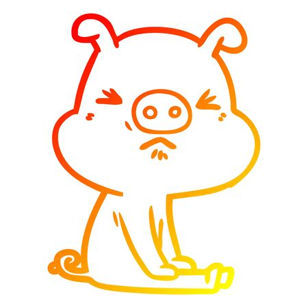 warm gradient line drawing of a cartoon angry pig sat waiting Иллюстрация