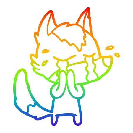 rainbow gradient line drawing of a cartoon crying wolf  イラスト・ベクター素材