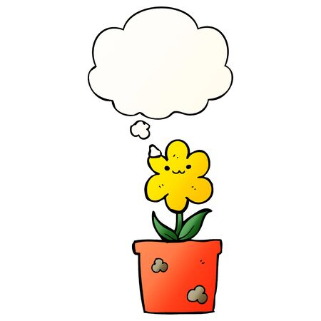 cartoon house plant with thought bubble in smooth gradient style Illusztráció