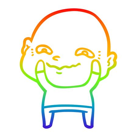 rainbow gradient line drawing of a cartoon creepy guy 일러스트