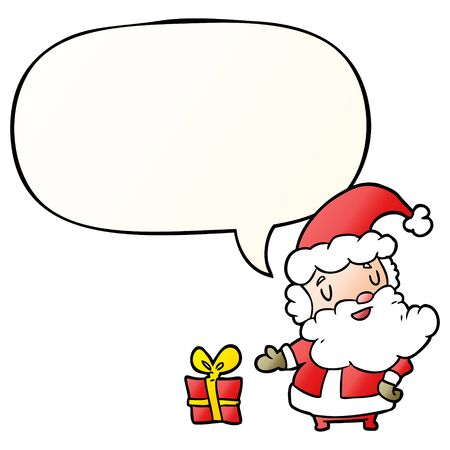 cartoon santa claus with present with speech bubble in smooth gradient style