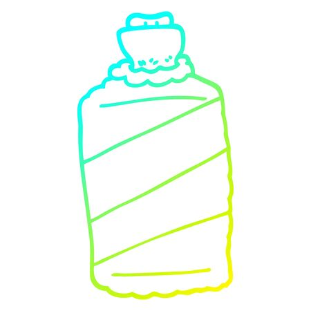 cold gradient line drawing of a cartoon hot water bottle