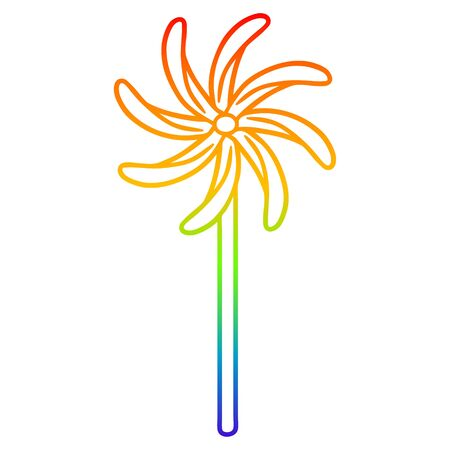 rainbow gradient line drawing of a toy windmill Ilustracja