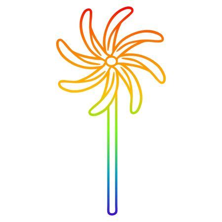 rainbow gradient line drawing of a toy windmill Illusztráció